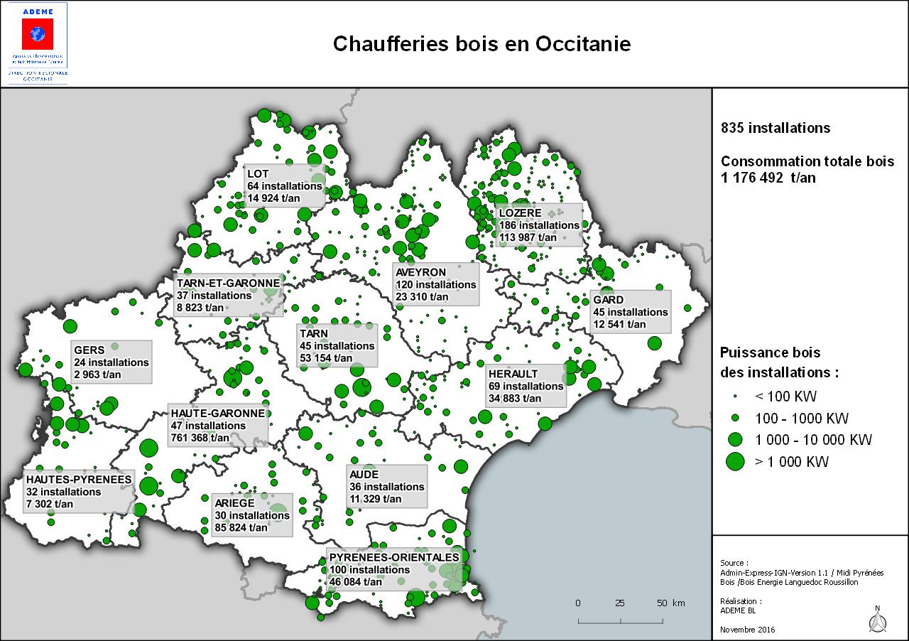 Carte des chaufferies bois en Occitanie, voir descriptif ci-dessous
