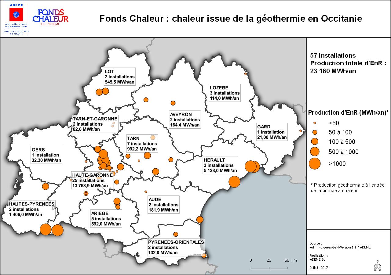 Cartographie des installations aidées par l'ADEME en Occitanie, voir descriptif ci-dessous