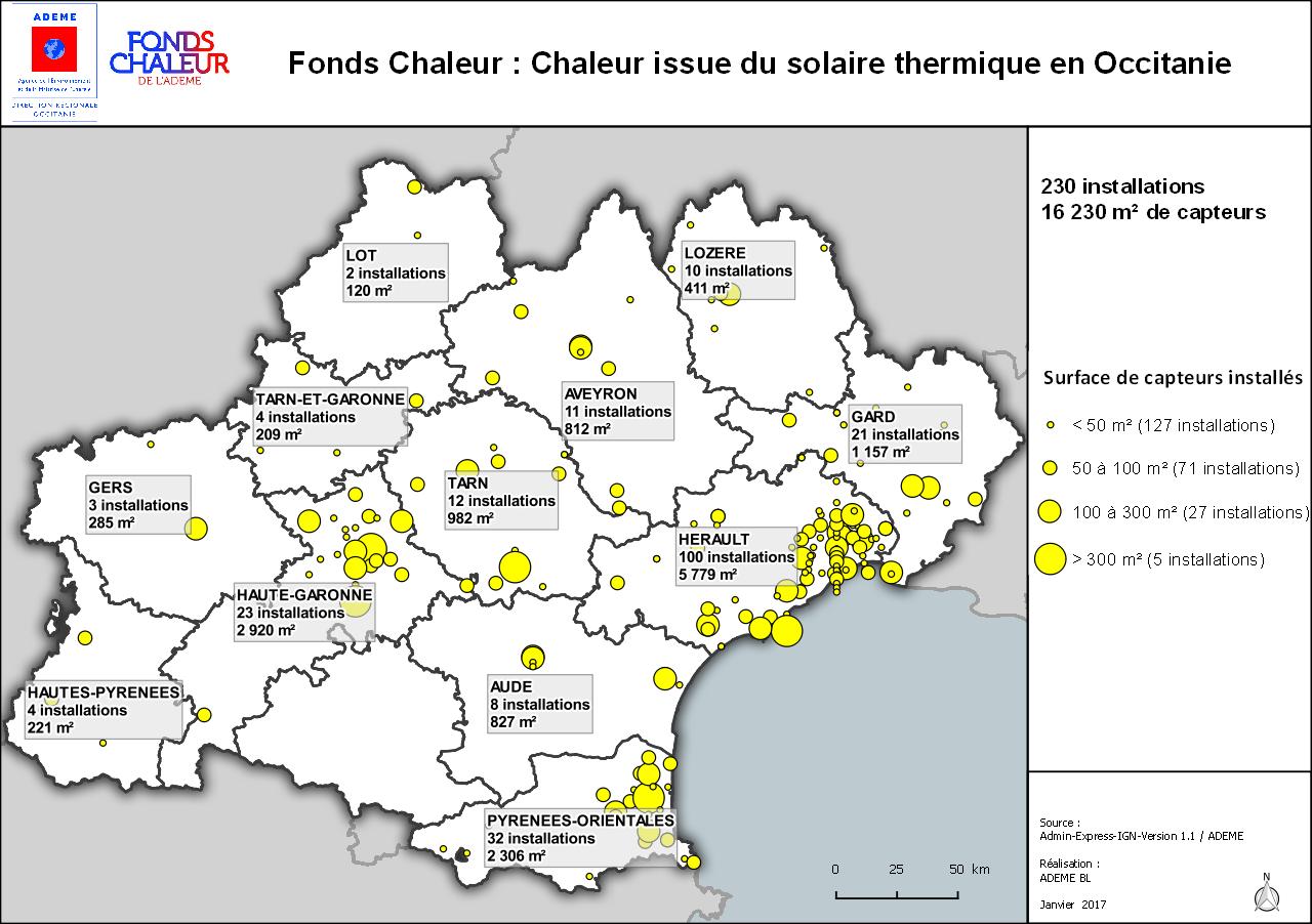 Carte Fonds Chaleur : chaleur issue du solaire thermique en Occitanie, voir descriptif détaillé ci-dessous